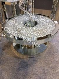 * New Diamond Crush Sparkle Crystal Round Mirrored Coffee ...