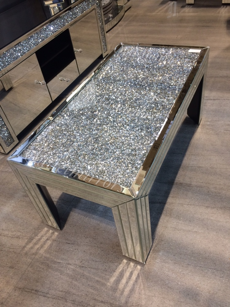 new diamond crush sparkle crystal mirrored rectangular coffee table