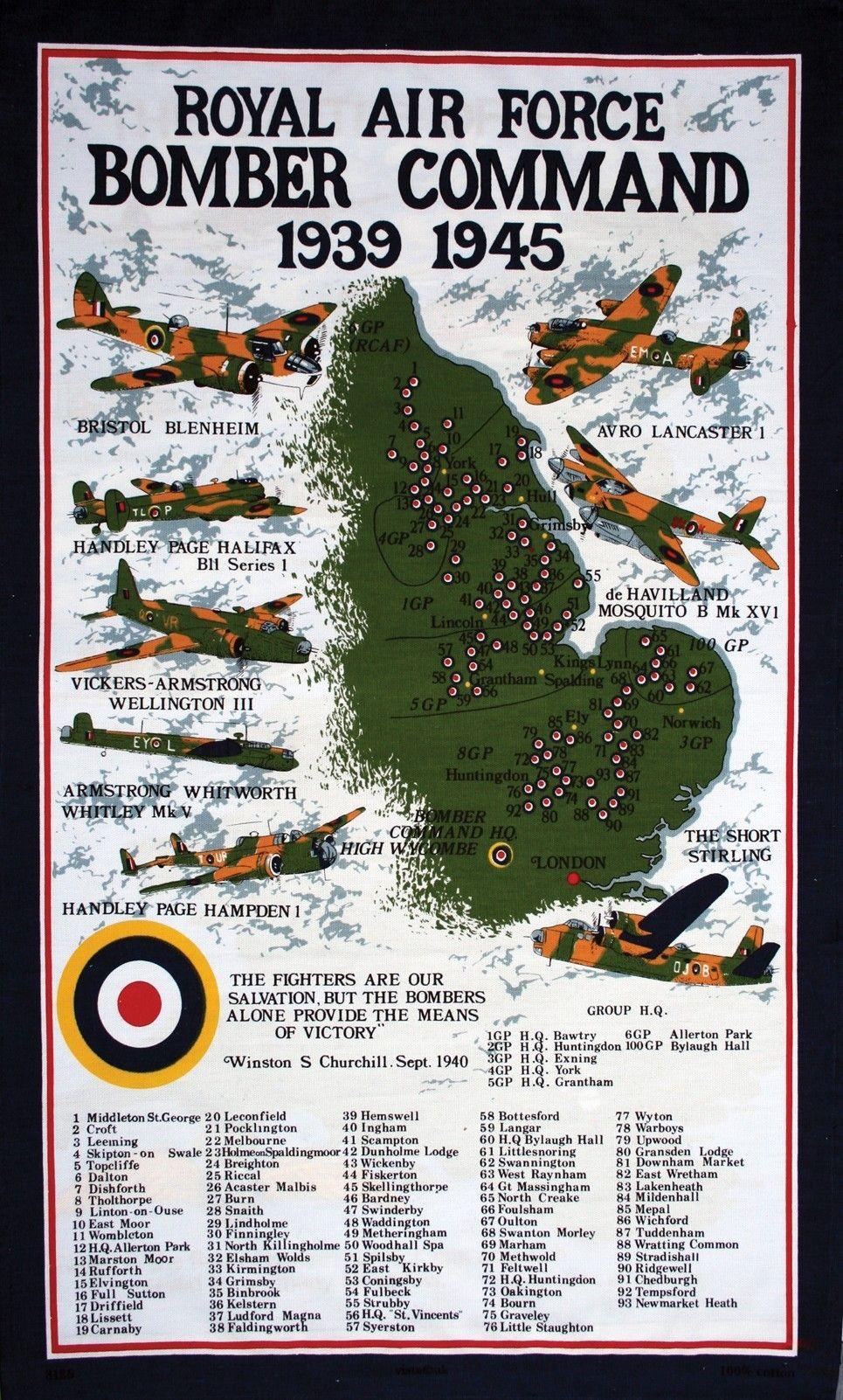 Battle Of Britain Tea Towel Bomber Command Tea Towel
