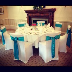 Chair Covers Wedding Yorkshire Rocky Oversized Folding Arm Sheffield Wheetwood Hall Leeds Teal Satin Bows White Stretch