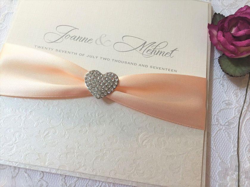 Diamante Hearts Boxed Wedding Invitation