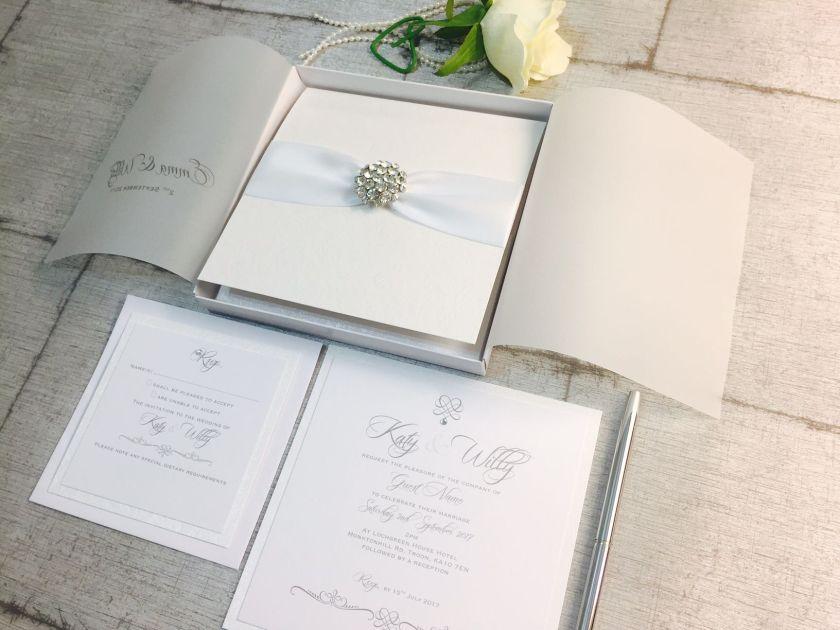 Boxed Crystal Diamante Wedding Invitations