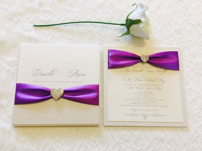 Luxury Boxed Wedding Invitations With Heart Brooch Amor