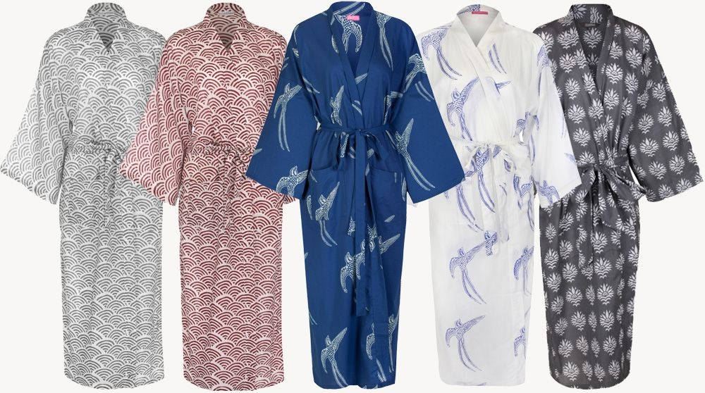 Hand-printed Cotton Dressing Gowns