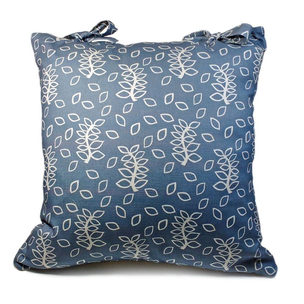 blue leaves cushion with