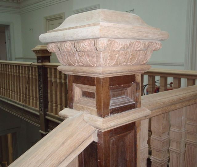 Hand Carved Newel Cap Restored Scroll Refurbishment Curved Handrail Restoration Hand Carved Post Restoration