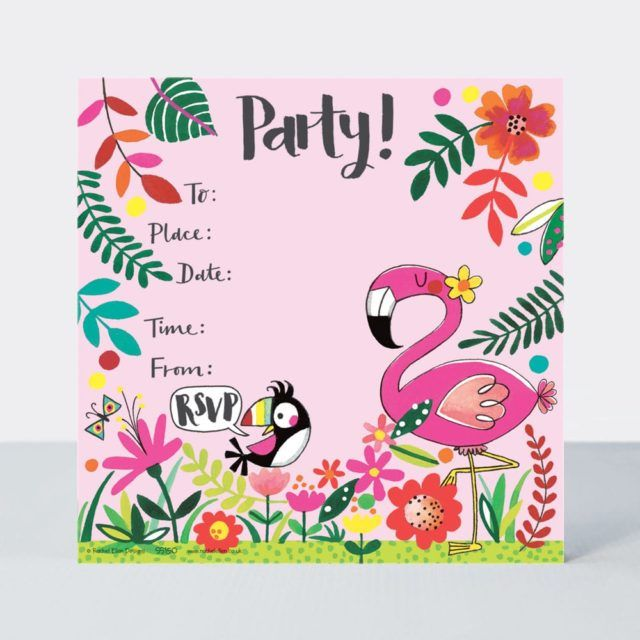 tropical flamingo party invitations pack of 8 flamingo invitations flamingo party supplies kids birthday invitations cute flamingo invites