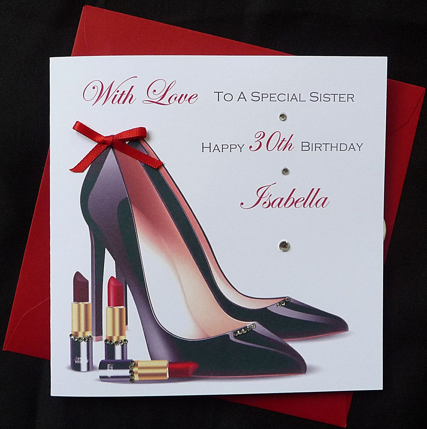 Handmade Ladies Birthday Card Stiletto Heels And Lipstick