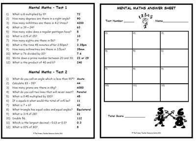Mental Maths Test Pack