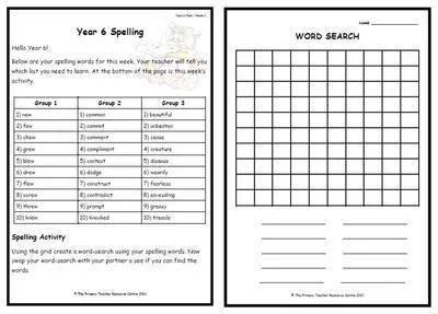 Year 6 Weekly Spelling Pack 1