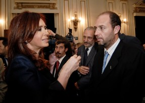Esteban Jobbágy receives Argentina's Houssay Award. Dr. Esteban Jobbágy (Duke Ph.D. 2002) was presented Argentina's Houssay Award on 17 August 2010. The Bernardo Houssay Award is the nation's highest award for a young scientist. In the photo, Argentina's President Cristina Fernández de Kirchner presents the award to Dr. Jobbágy. Jobbágy earned a Certificate in Ecology while at Duke and was advised by Prof. Rob Jackson. Jobbágy studies the cycling of materials in ecosystems and the effects of land-use change on ecosystem biogeochemistry. Submitted by D. Richter 08/28/2010