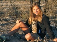 Kendra Smyth in her field site in South Africa with meerkats. Photo3