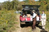 """Current UPE Student Raven Bier and UPE Alumni Alison Appling preparing to collect water and microbial samples from the Mud River in West Virginia"""" (photo by E.S. Bernhardt)"""