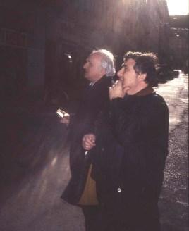 Photo by Mario 'Piccolo' Sillani Djerrahian, Richard Demarco (L) and Mario Sillani, Trieste, 1996
