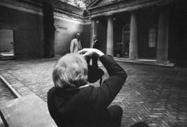 Photo by Mario 'Piccolo' Sillani Djerrahian, In the photo Richard Demarco, Count Panza di Biumo, Venice Biennale, Giardini, in front of the USA Pavilion.