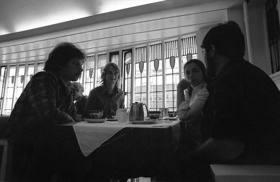 Photo by Mario 'Piccolo' Sillani Djerrahian, Trip to Edinburgh on the occasion of Edinburgh Arts, 1975. In the photo Sillani pictured right, Guido Sartorelli on the left, Richard Demarco Gallery, 1975