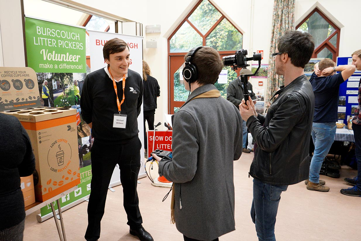 Staff member from DS Smith being interviewed at the Sustainability in the Region event