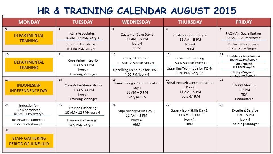 Training Calendar Our Voice Atria Hotel Amp Residences Gading Serpong