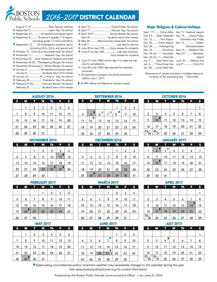 Boston Public Schools Vacation Calendar 2018   traveltourswall.com