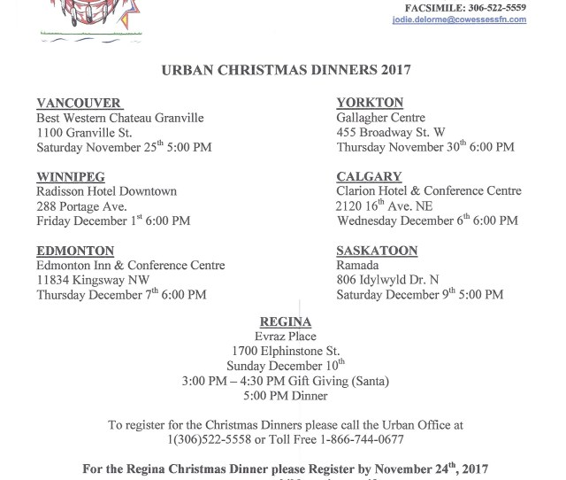 Dates And Locations For The  Urban Christmas Dinners Please Call Urban Office To Register For The Urban Christmas Dinners