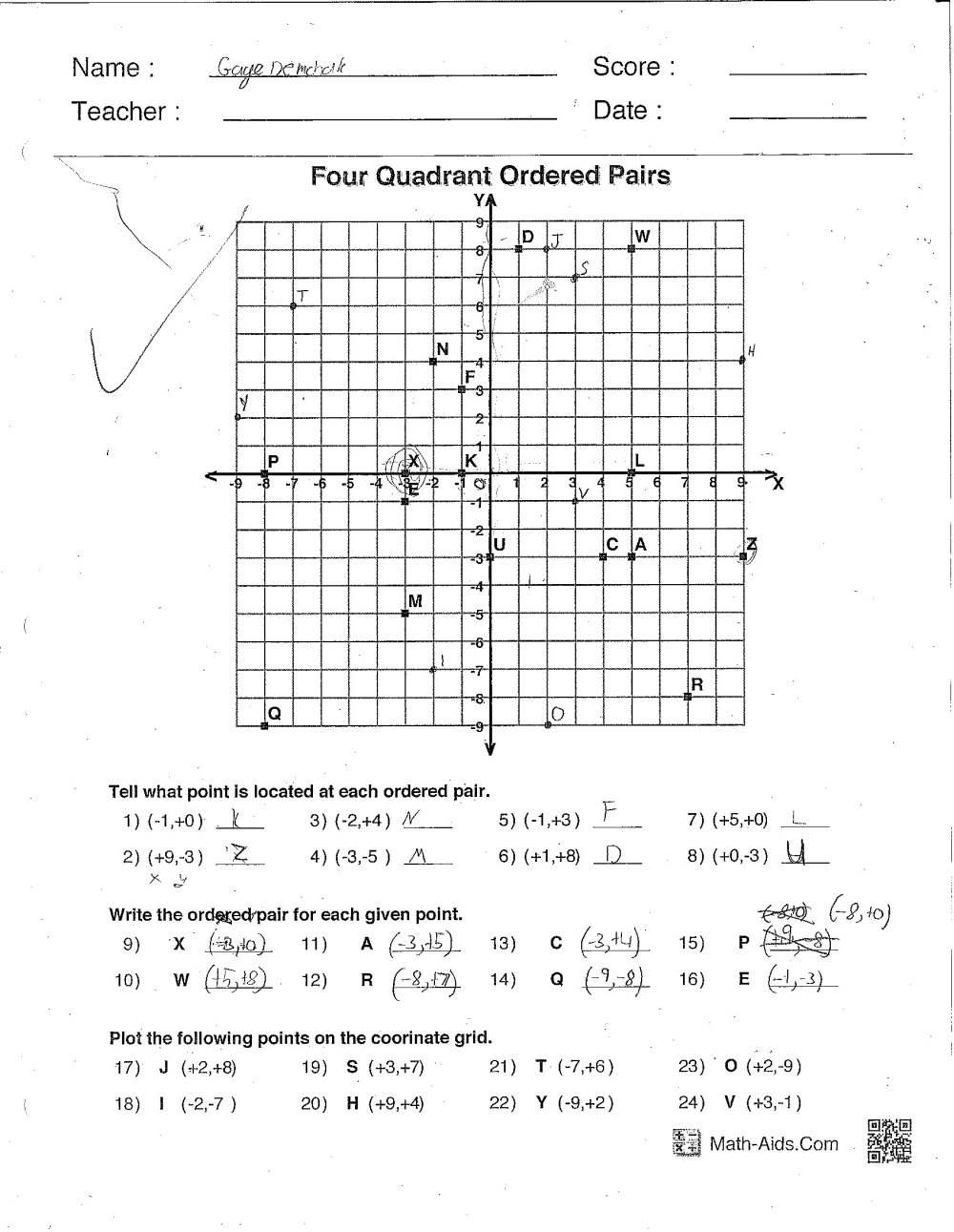 medium resolution of Ordered Pairs Worksheets 6th Grade   Printable Worksheets and Activities  for Teachers