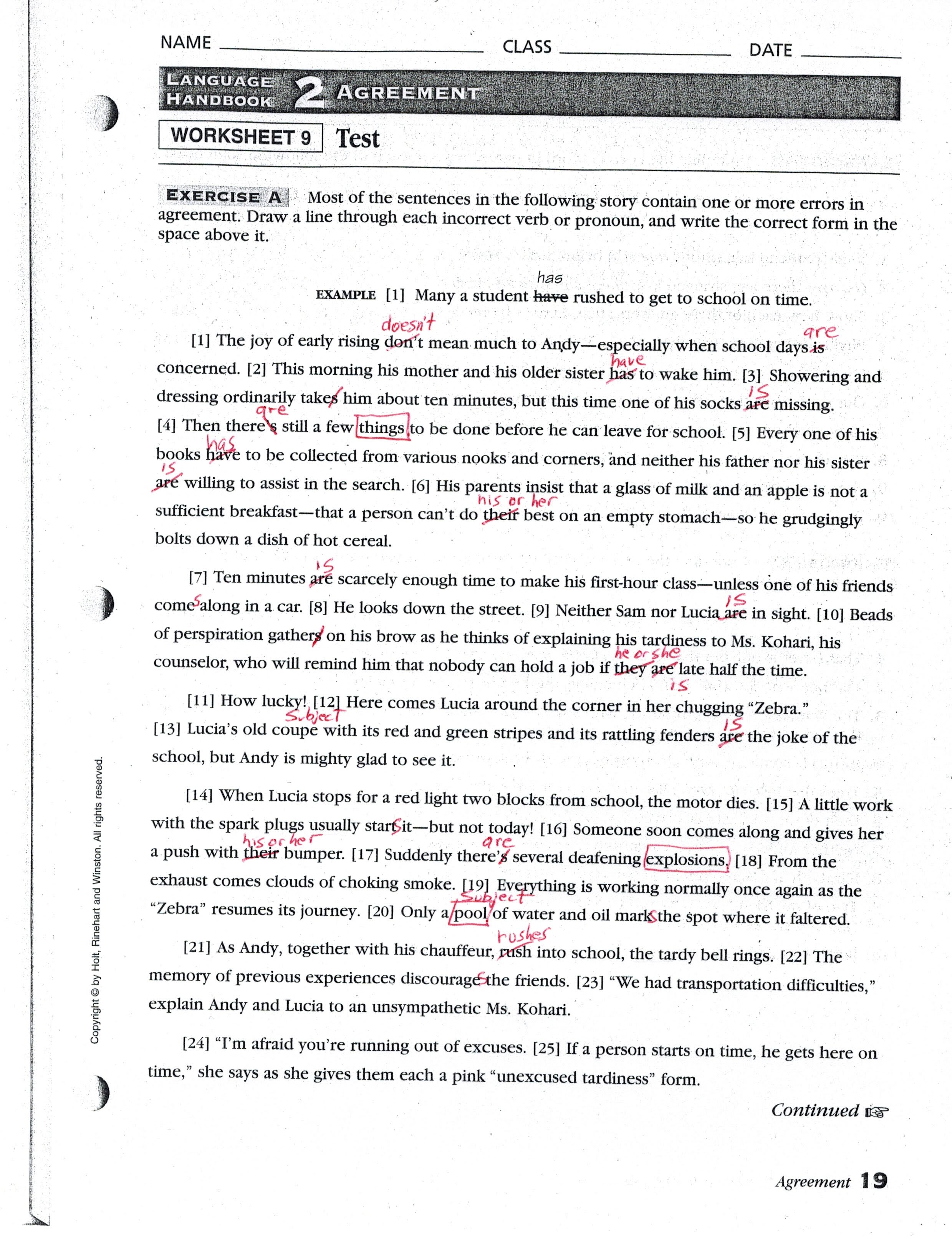 Worksheet Pronoun Antecedent Agreement Worksheet With