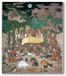 the teacher Shakyamuni Buddha's great Nirvāna art picture