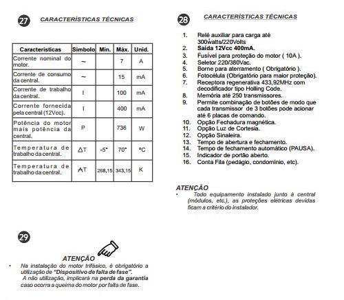 Manual Técnico do Motor de Portão Basculante Peccinin