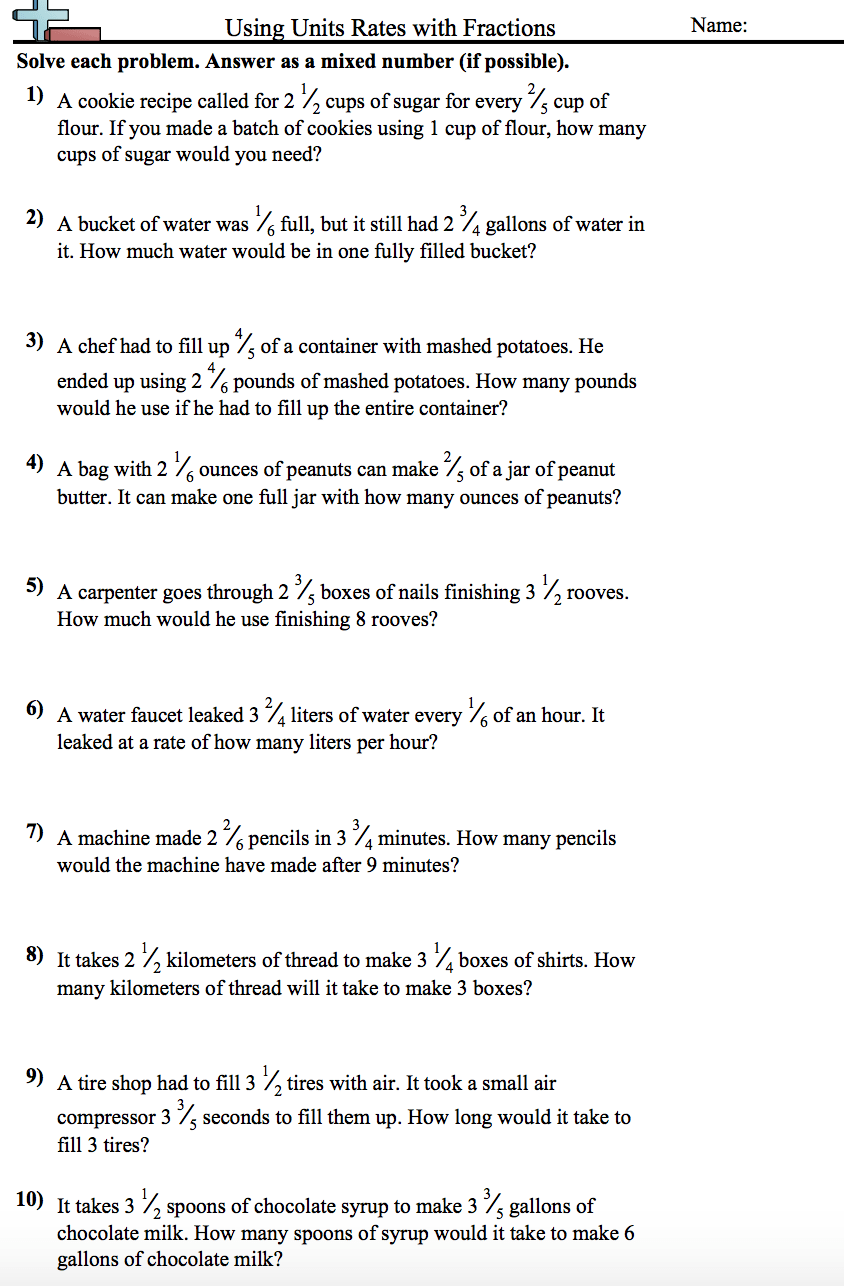 hight resolution of Unit Rates Involving Fractions Worksheet - NMS Self-Paced Math