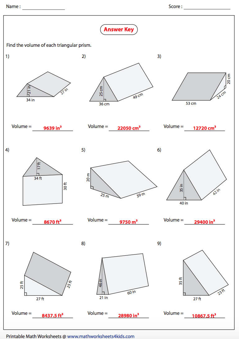 Comfortable Volume Of A Triangular Prism Worksheet