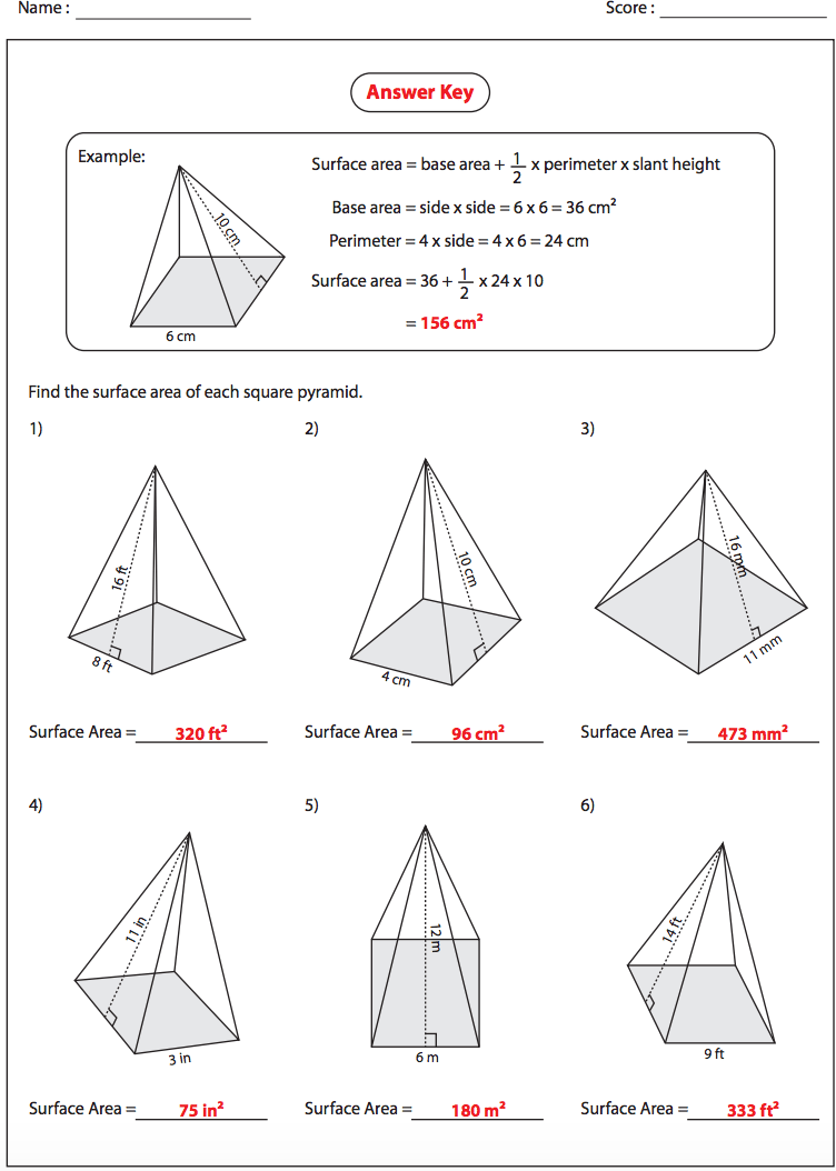 31 Surface Area And Volume Of Pyramids And Cones Worksheet