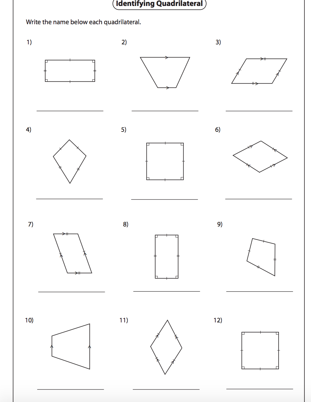 Identifying Quadrilaterals Worksheet With Answers