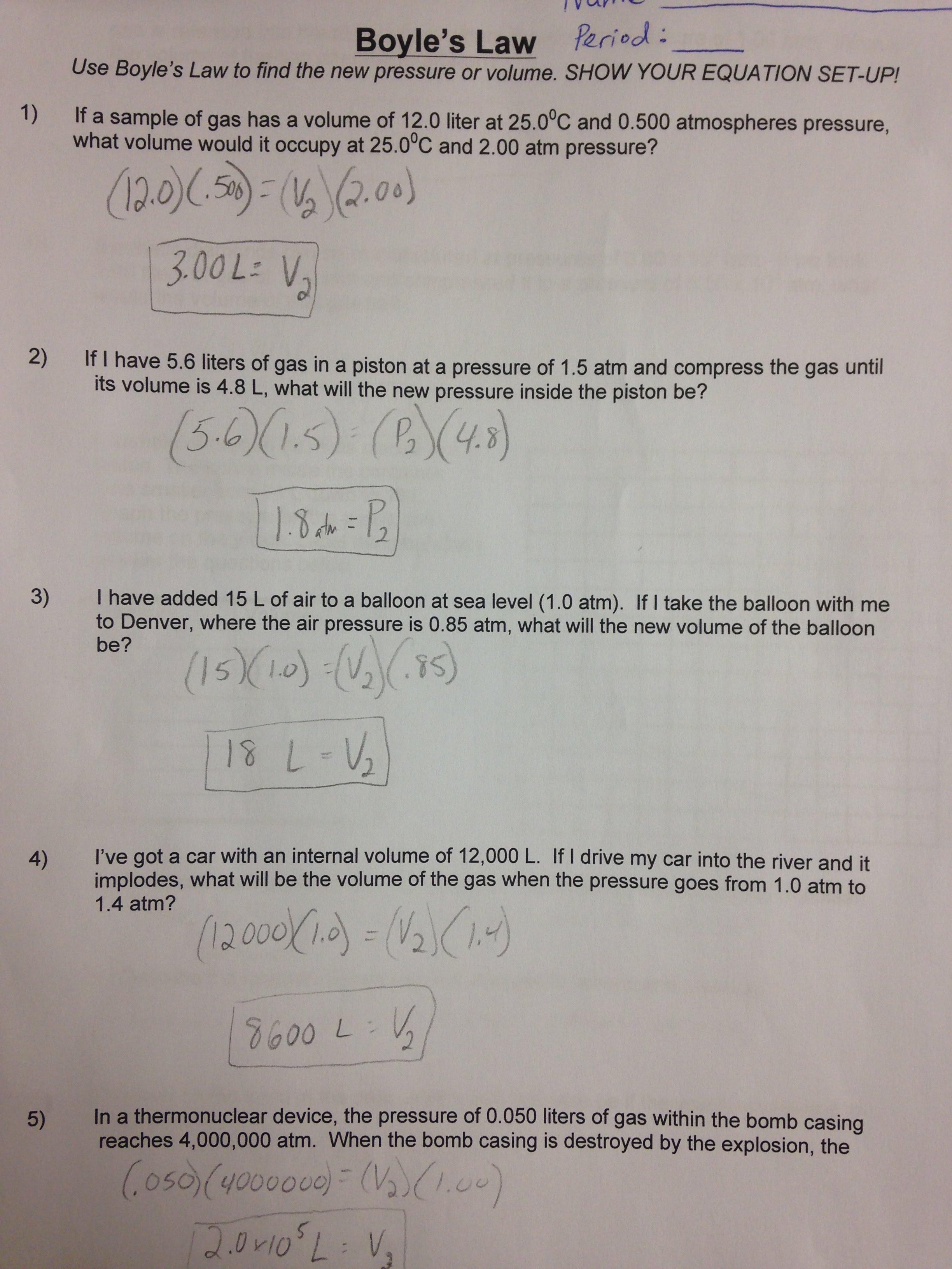 Boyle's Law Practice Answer Key