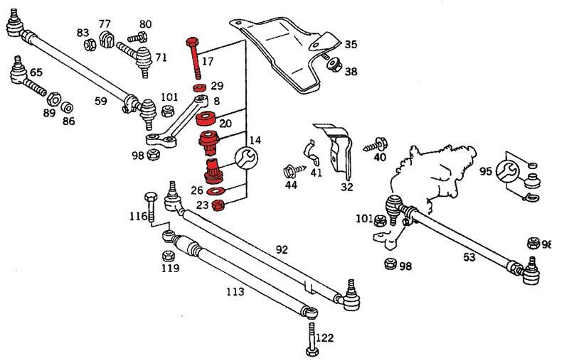 Mercedes w124 tylne zawieszenie schemat
