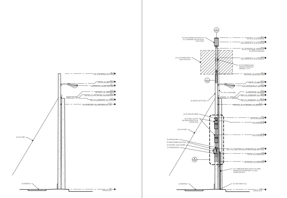 medium resolution of  left image is original light pole right image is light pole w extension electronic boxes added example of 2018 proposed cell tower