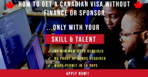 HOW TO GET A CANADIAN VISA WITHOUT FINANCE OR SPONSOR, ONLY WITH YOUR SKILL & TALENT