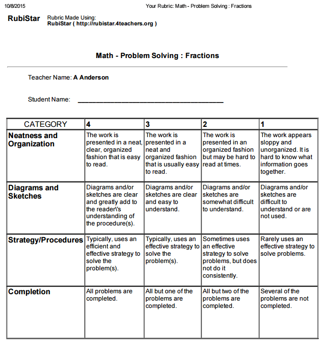 Digital Rubric Ashley Anderson E Portfolio