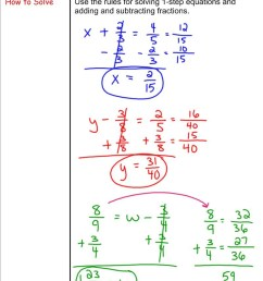 Solving Equations by Adding and Subtracting Fractions - 7th Grade  Pre-Algebra - Mr. Burnett [ 1159 x 800 Pixel ]