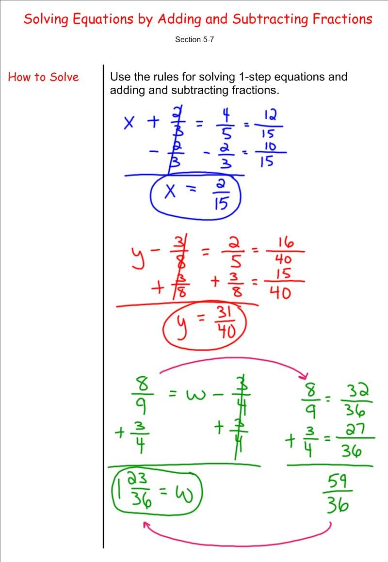 hight resolution of Solving Equations by Adding and Subtracting Fractions - 7th Grade  Pre-Algebra - Mr. Burnett