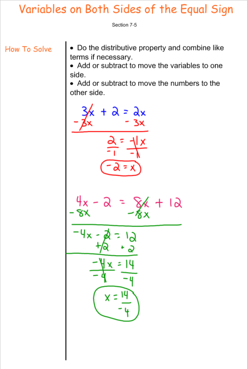 small resolution of Solving Equations with Variables on Both Sides - 7th Grade Pre-Algebra -  Mr. Burnett