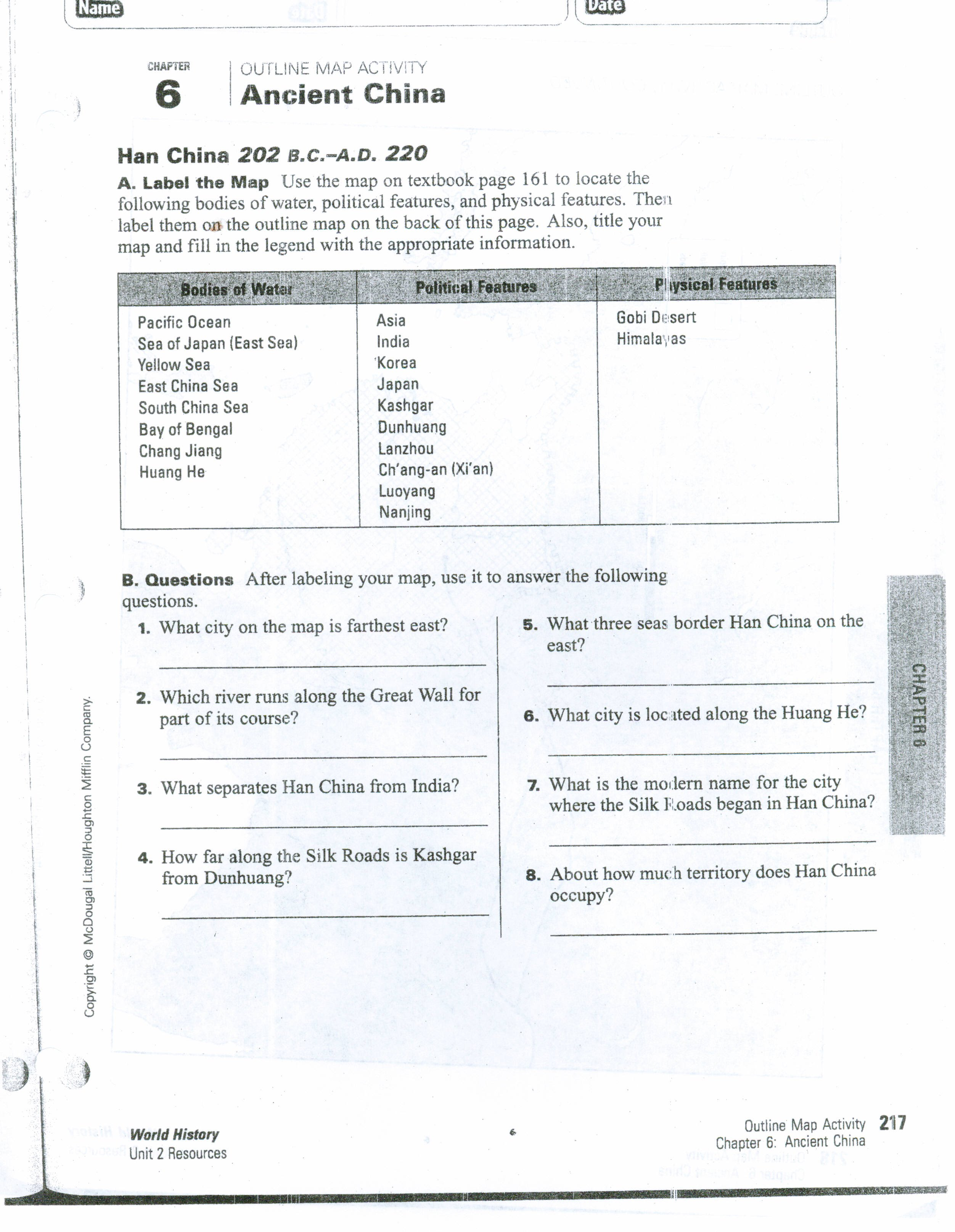 Ancient China Map Worksheet