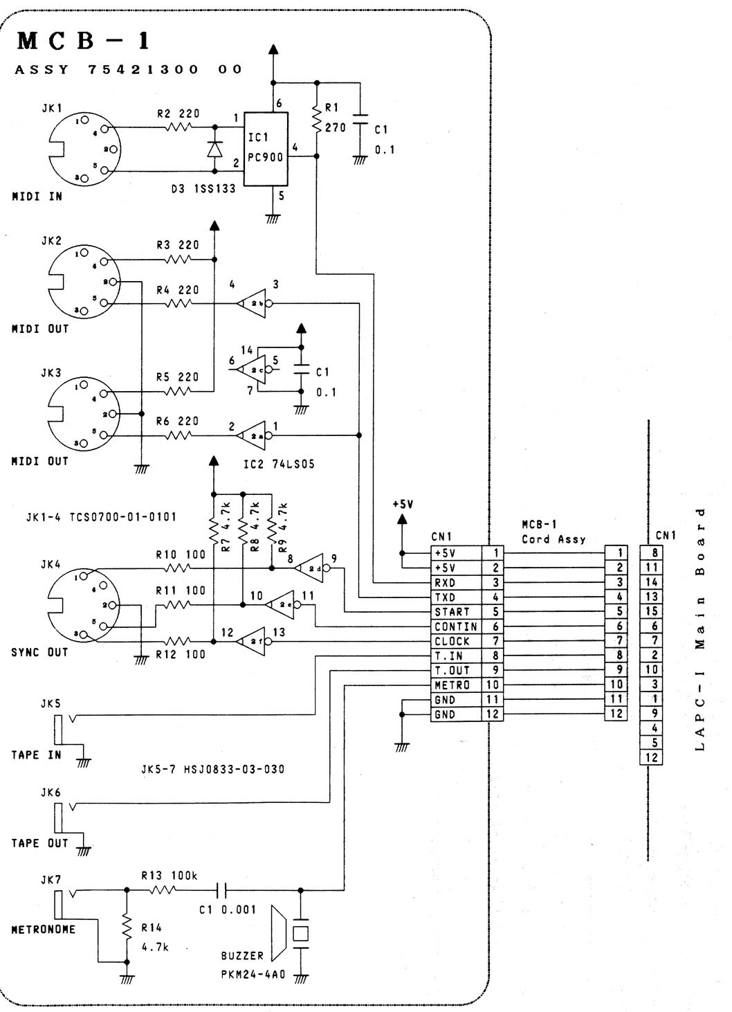mcb board wiring diagram bosch dishwasher vogons  view topic home made midi interface for the lapc i