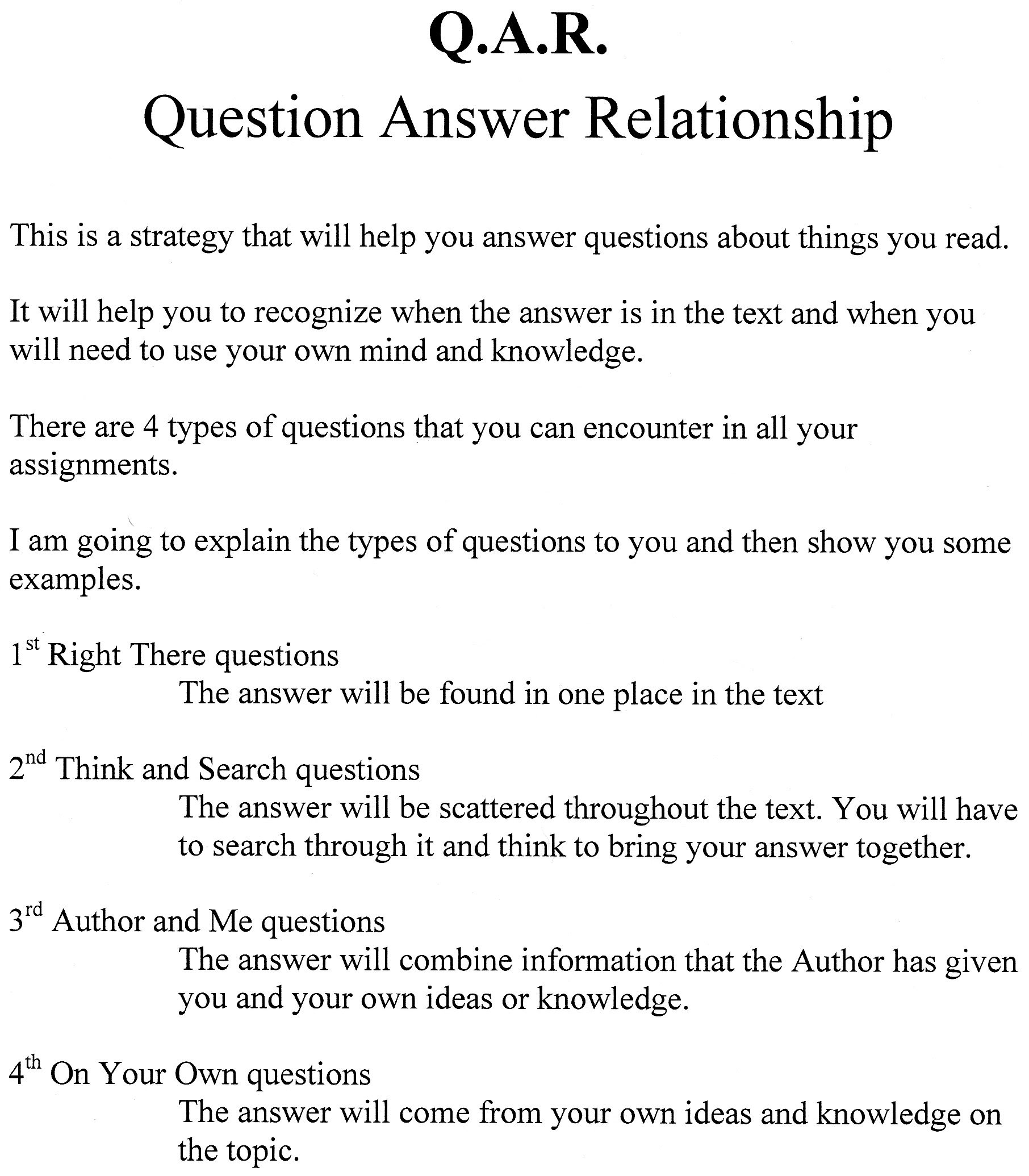 Question Answer Relationship Worksheets
