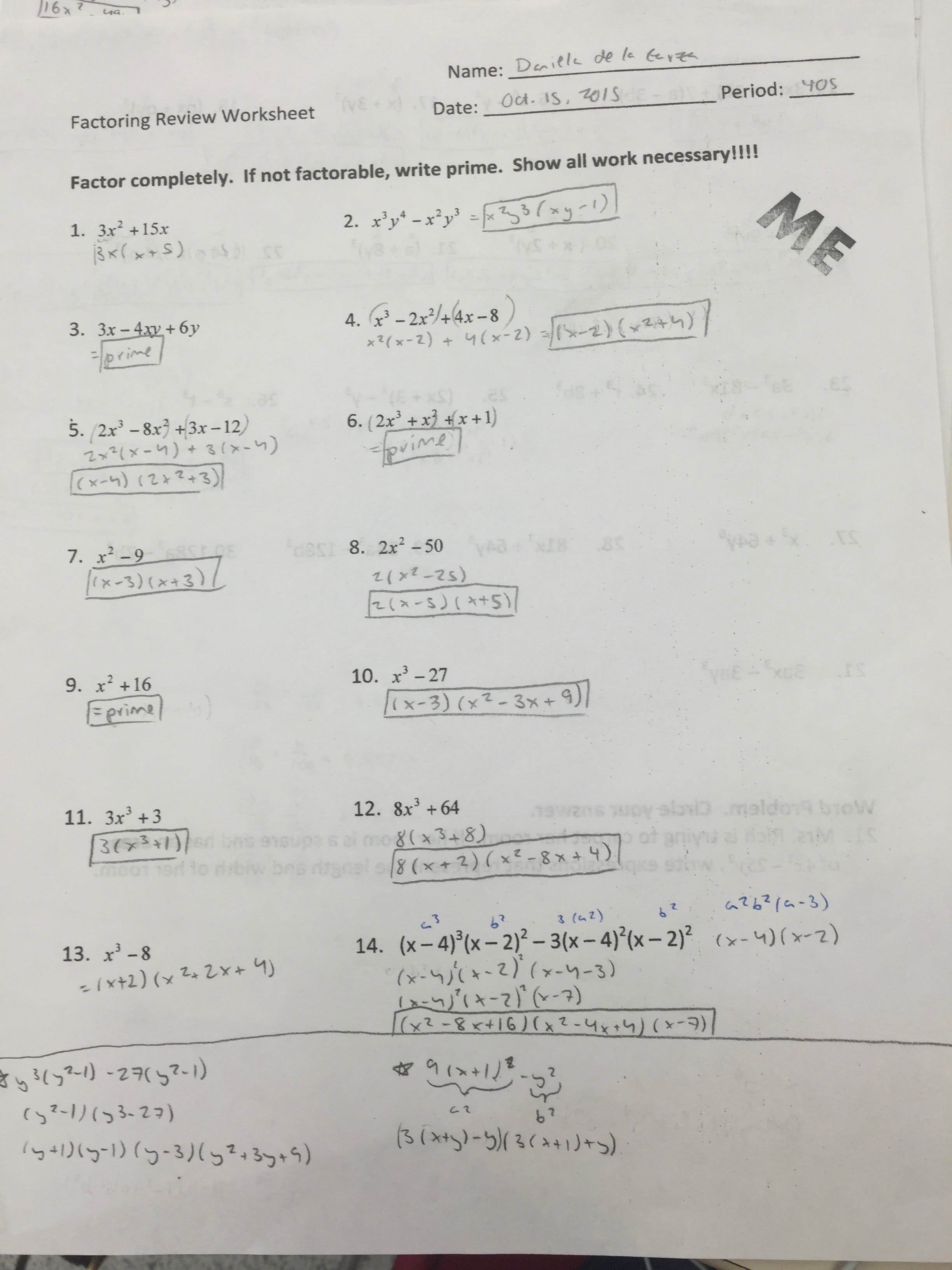 Mixed Factoring Review Worksheet