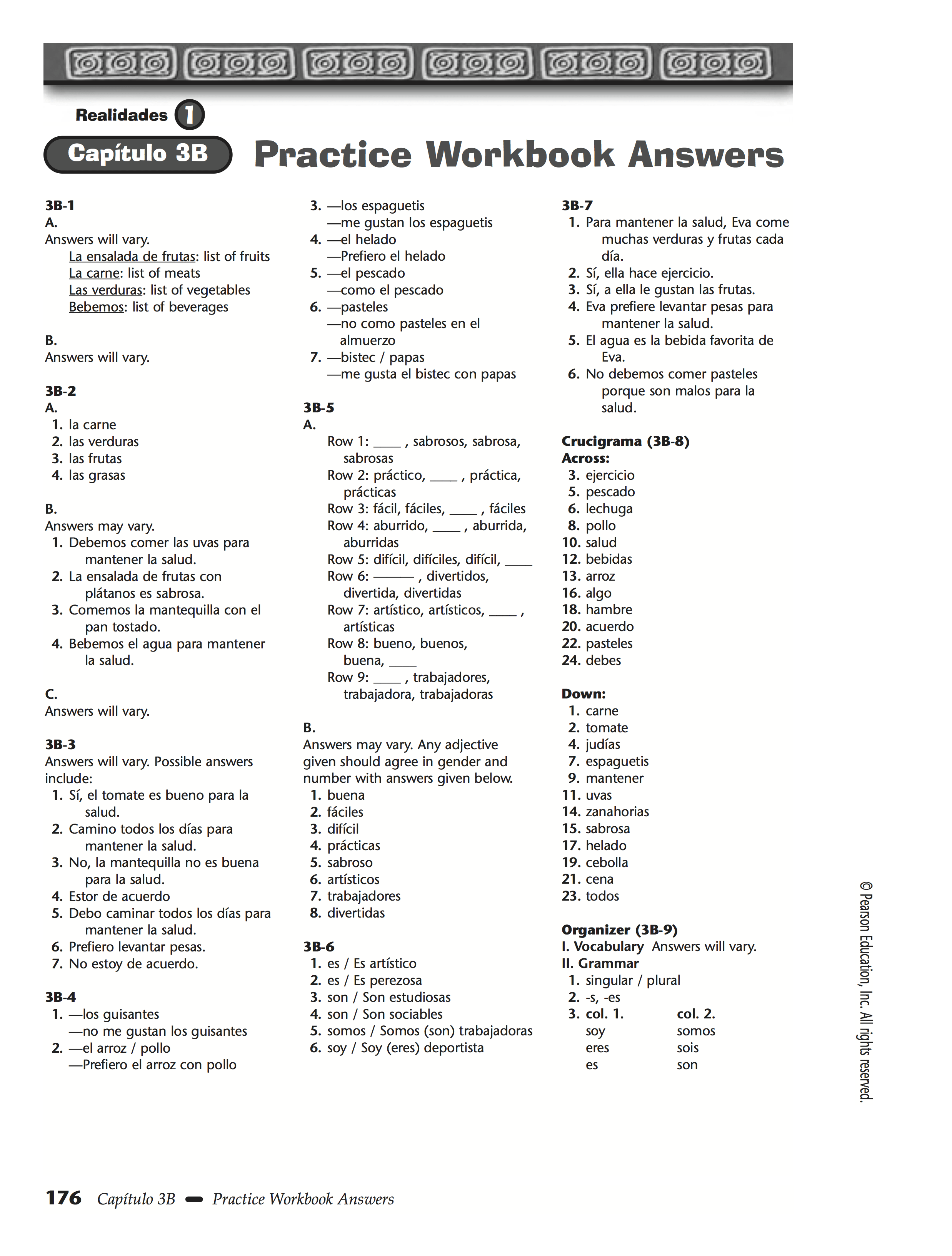 Chapter 3b Chapter 4a Chapter 4b Practice Worksheet Answers Realidades 1 Spanish 1