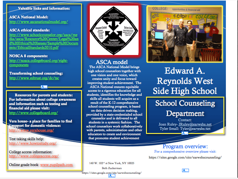 Edward A Reynold West Side High School Counseling Department