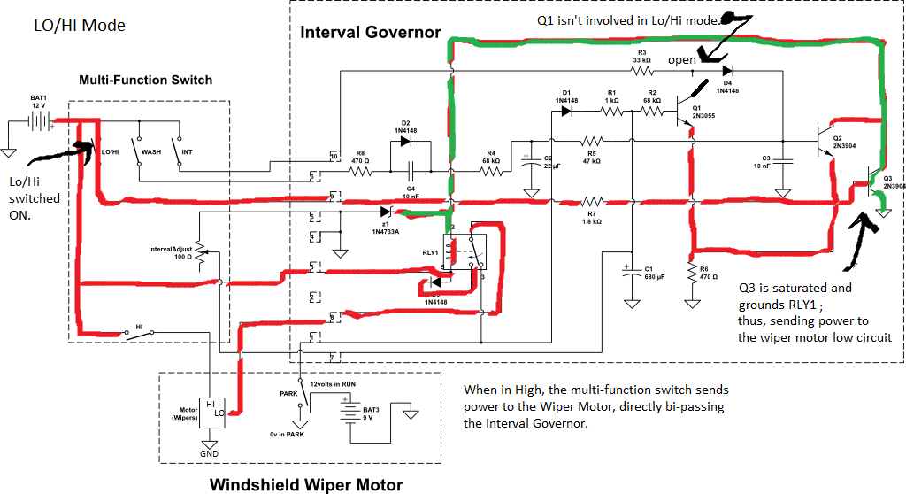 wiper motor wiring diagram ford vehicle damage 1994 ranger interval governor for windshield eb fig 7 in lo hi mode the wipers work either high or low depending on multi function switch