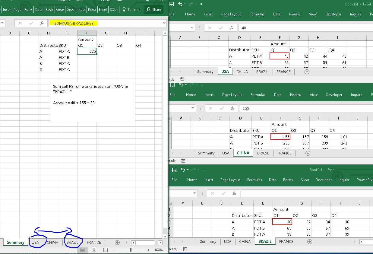 3d Referencing Use Sumproduct To Sumif Multiple Columns