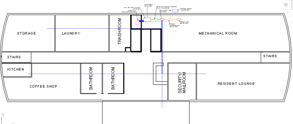 medium resolution of below is a close up of the first floor below is the electrical single line diagram