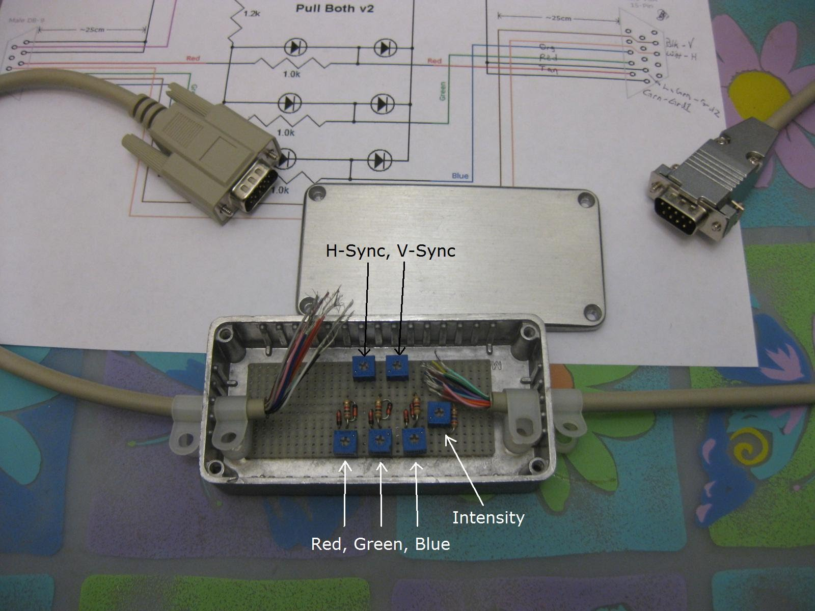 small resolution of photo of rgbi to vga converter in metal case with variable resistors